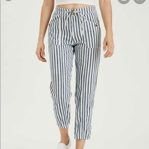 AE High Waisted Tapered Leg Striped Cotton Pants
